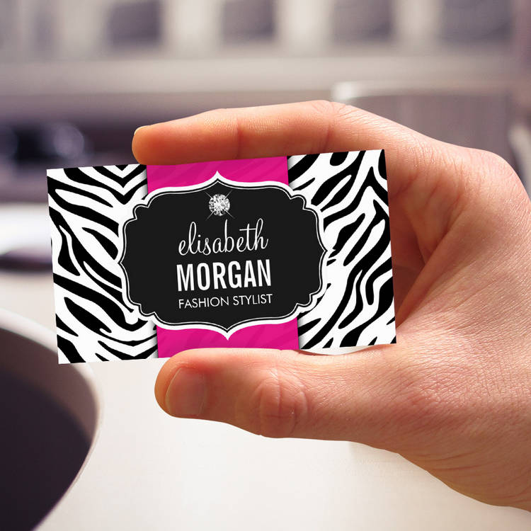 Customizable Trendy Stylish Zebra Print Diamond Girly Hot Pink Business Card Templates