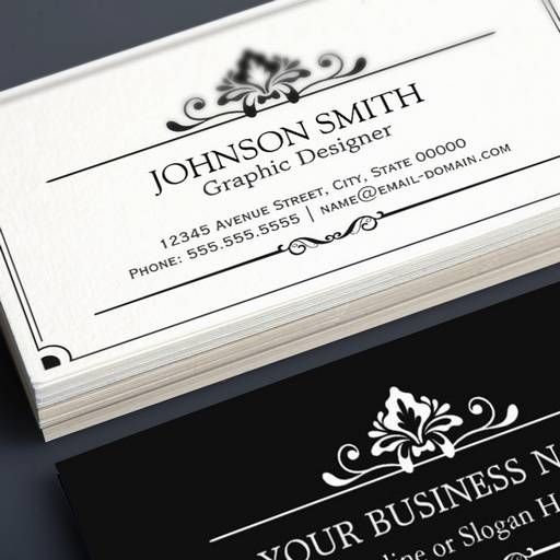 Customizable Vintage Black and White Minimal Concise Business Cards
