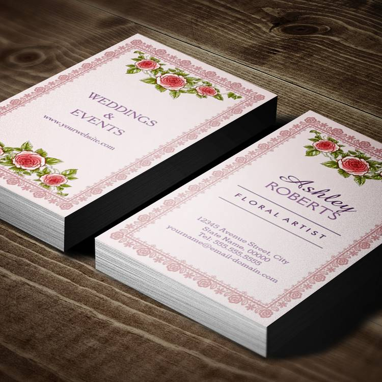 Customizable Vintage Elegant Pink Red Roses Frame - Chic Business Card Templates