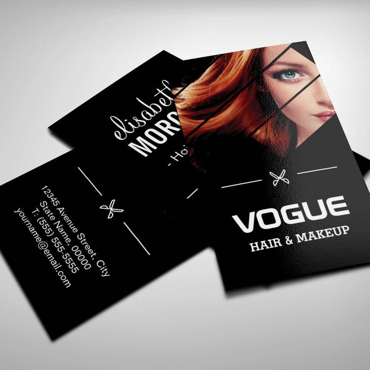 Vogue girl stylish black white fashion hairstylist business card cheaphphosting