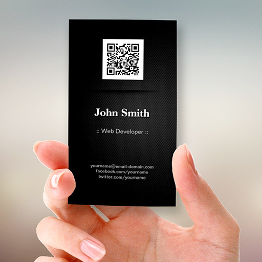Customizable Web Developer - Elegant Black QR Code Business Card Templates