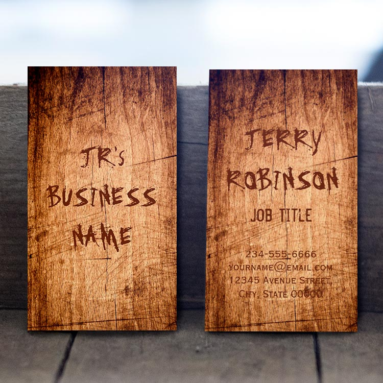 Customizable Western Rustic Scratched Wood Grain Cool Stylish Business Card