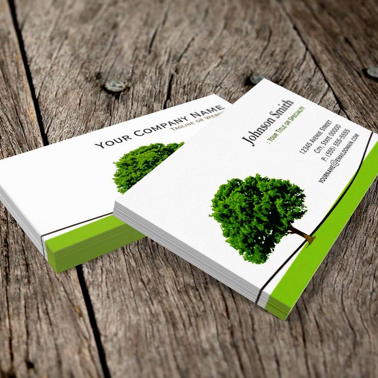 Customizable Wise Oak Tree Symbol - Professional Tree Service Business Cards