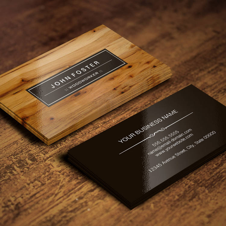 Customizable Woodworker - Border Wood Grain Business Card
